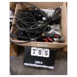 BOX: MISC. TV CABLES, CHARGERS, UNIVERAL PLUGS