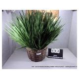 WICKER BASKET OF FAKE YUCCA PLANT - DECORATIVE