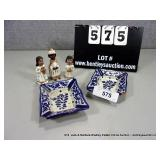 LOT: 5 (3) SMALL TERRA COTA PAINTED FIGURINES &