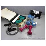 LOT: ASSORTED EXERCISE WEIGHTS, DUMBELLS, & BANDS
