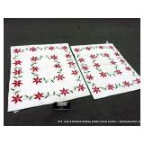RED & GREEN FLORAL QUILTED BED SPREAD
