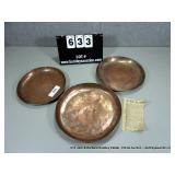 LOT: 3 ASSORTED SIZED COPPER PLATES