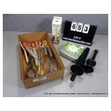 BOX: ASSORTED KITCHEN UTENCILS - TONGS, WHISK,