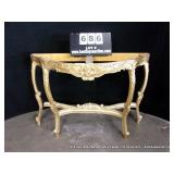 ANTIGUE GOLD PAINTED FRENCH TYPE ENTRY COMMODE
