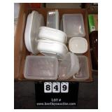 BOX: VARIOUS SIZE TUPPERWARE (17)- WHITE & CLEAR