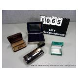 LOT: 2 - SILVER AND GOLD BLUE SUADE JEWELRY BOX