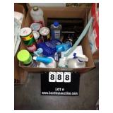 BOX: CLEANING BRUSHES, CLEANING CHEMICALS, COMET
