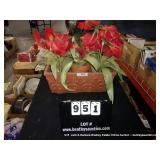 CLAY FLOWER POTS W/ RED ARTIFICIAL PLANTS