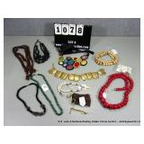 LOT: ASSORTED BEADED & COLORED NECKLACES (APPROX,
