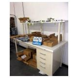 BROWN WORKBENCH W/ OVERHEAD