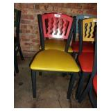 MTS SEATING METAL CHAIR- RED ON YELLOW