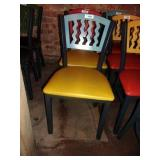 MTS SEATING METAL CHAIR- BLUE ON YELLOW