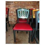MTS SEATING METAL CHAIR- BLUE ON RED