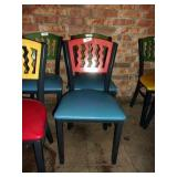 MTS SEATING METAL CHAIR- RED ON BLUE