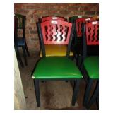 MTS SEATING METAL CHAIR- RED ON GREEN