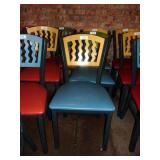 MTS SEATING METAL CHAIR- YELLOW ON BLUE