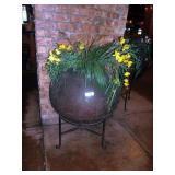 METAL FLOWER POT W/ STAND & ARTIFICIAL PLANT