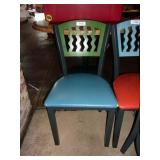 MTS SEATING METAL CHAIR- GREEN ON BLUE