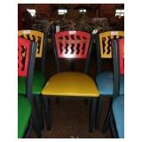 RED ON YELLOW METAL CHAIR
