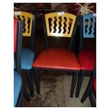 YELLOW ON RED METAL CHAIR