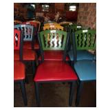 GREEN ON RED METAL CHAIR