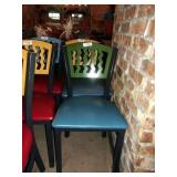 GREEN ON BLUE METAL CHAIR