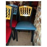 YELLOW ON BLUE METAL CHAIR