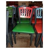 RED ON GREEN METAL CHAIR