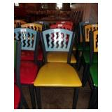 BLUE ON YELLOW METAL CHAIR