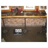 """WOOD TOP, METAL STAND TABLE 29""""X30""""X30"""""""