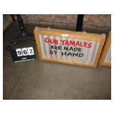 "WOOD FRAME METAL SIGN- TAMALES 18""X28"""
