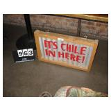 """WOOD FRAME METAL SIGN- CHILES 18""""X28"""""""