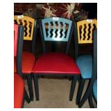 BLUE ON RED METAL CHAIR