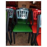 BLUE ON GREEN METAL CHAIR