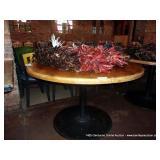 """48"""" ROUND WOOD TABLE ON ROUND BASE"""