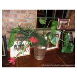 DECORATIVE VASE W/ ARTIFICIAL PLANT