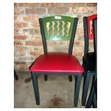 MTS SEATING METAL CHAIR- GREEN ON RED
