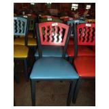 RED ON BLUE METAL CHAIR