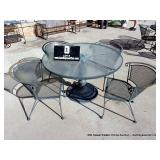 PATIO SET: ROUND TABLE W/ GLASS TOP W/ 4 EXPANDED
