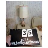 LOT: SATIN W/ BRASS BASE TABLE LAMPS (2X MONEY)