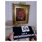 FRAMED PAINTING W/ LIGHT, OIL ON CANVAS, FLORAL