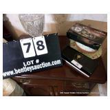 LOT: BOX~ NUTSHELLS, HAT, MOTORCYCLE ALARM CLOCK