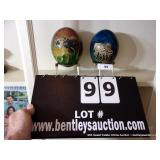 LOT: (2) OSTRICH EGGS W/ BASES-HAND PAINTED