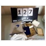 LOT: WHITING & DAVIS MESH BAG, LANEEL COMPOTE,