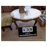 OVAL MARBLE TOP END TABLE