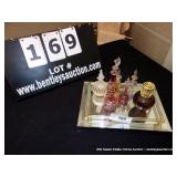 LOT: GLASS TRAY: ASSORTED PERFUME BOTTLES