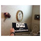LOT: BRIDAL BOUQUET, OVAL FRAMED PAINTING OIL ON