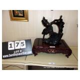 LOT: MAHOGANY CARVED BASE W/ INLAY MOTHER OF