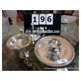 LOT: FOOTED DISH, CANDLE BOWL, PLATTER W/ BOWL