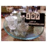 LOT: PRESSED GLASS VASE, CANDY DISH